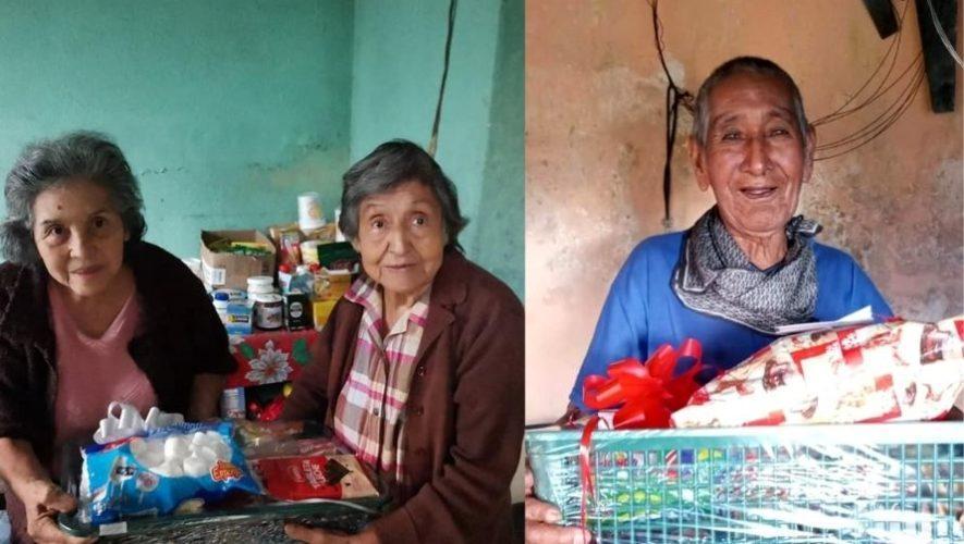 Abuelitos guatemaltecos que laboran como comerciantes informales recibieron canastas navideñas