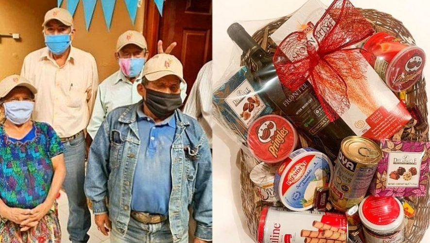 Abuelitos heladeros venden canastas navideñas