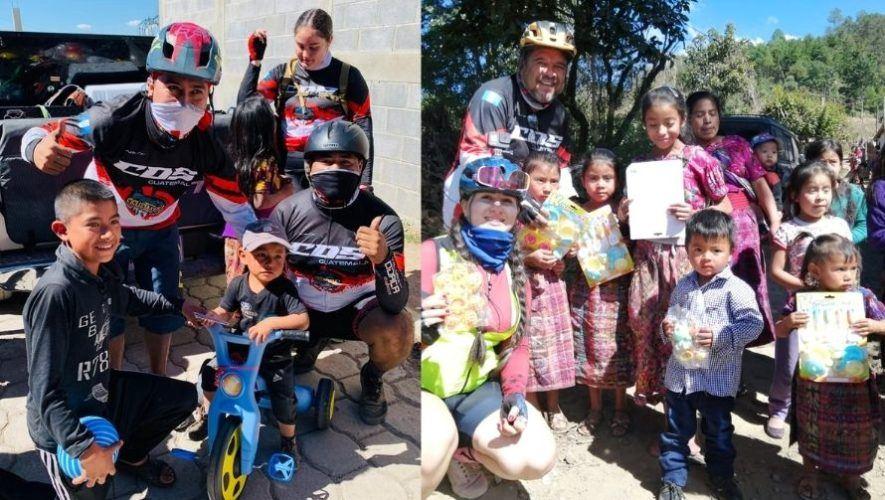 Ciclistas donaron juguetes y víveres a niños de aldeas de Guatemala para Navidad