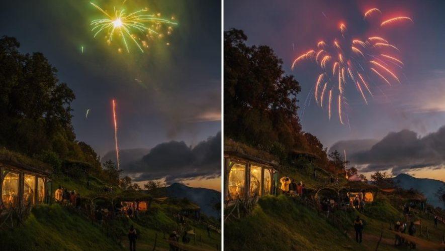 Show de luces artificiales en Hobbitenango | Enero 2021