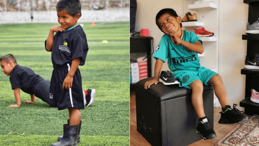 Elmer Tuil, niño de Cahabón que juega con botas de hule, recibió donación de ropa y zapatos