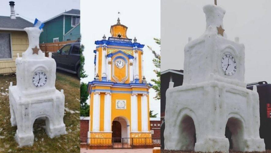 Hermanos guatemaltecos recrearon Torre de San Carlos Sija en escultura de hielo