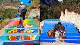 Realizan murales pintados a mano en las gradas del Mirador del Rostro Maya