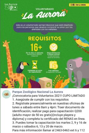 convocatoria-guatemaltecos-quieran-ser-voluntarios-zoologico-aurora-cursos