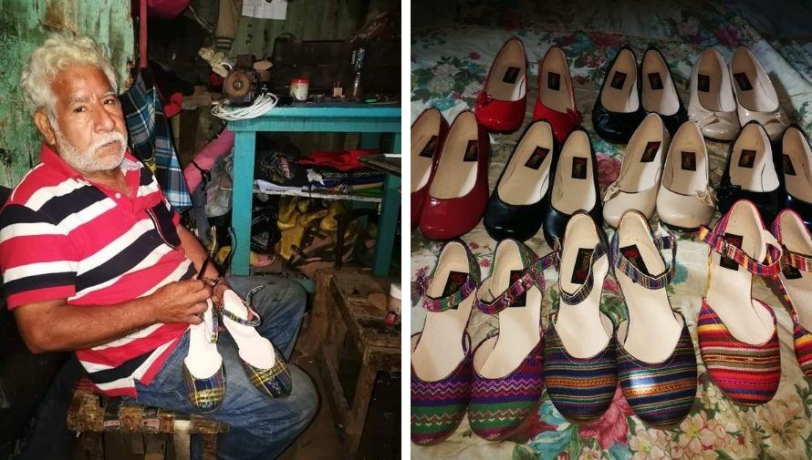 Mario Antonio Chávez, el abuelito de Villa Nueva que fabrica y vende zapatos