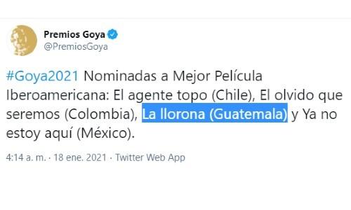 premios-goya-2021-pelicula-llorona-nominada-mejor-pelicula-iberoamericana-twitter-listado-nominados