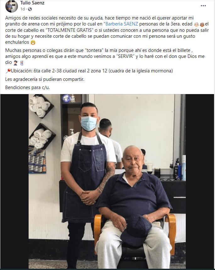 Barbero guatemalteco hace cortes de cabello gratis a personas de la tercera edad