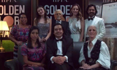 Jayro Bustamante y protagonistas de la película La Llorona
