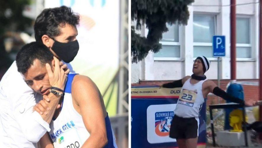 Descripción de la foto para personas con discapacidad visual - Al izquierda Uriel Barrondo con su entrenado y a la derecha Ángel Sánchez entrando con los brazos abiertos a la meta. - COG