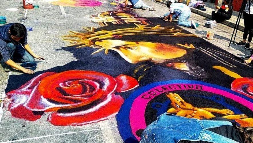 Exposición de una alfombra gigante de Semana Santa en Alta Verapaz | Marzo - Abril 2021