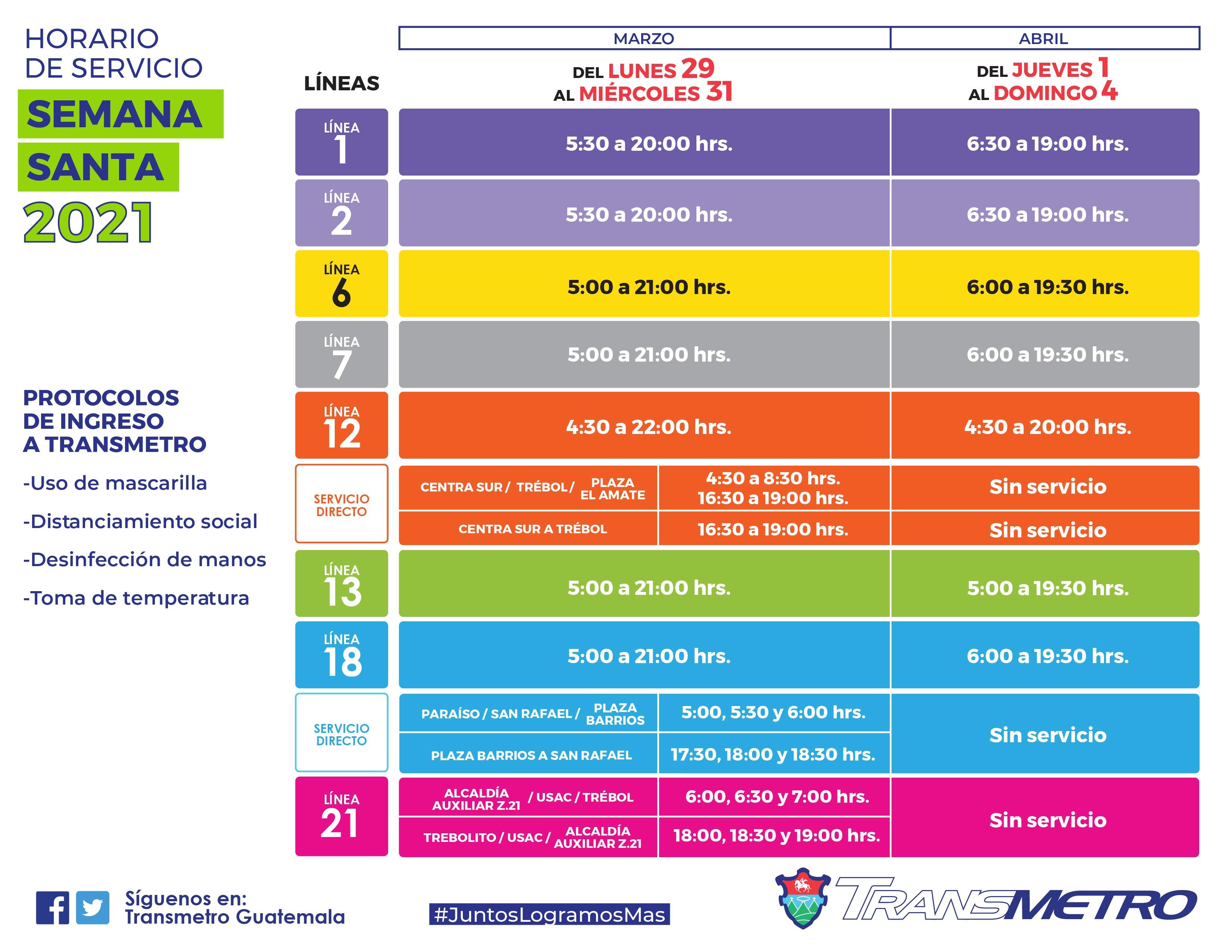 Horarios del Transmetro en Semana Santa 2021, Ciudad de Guatemala