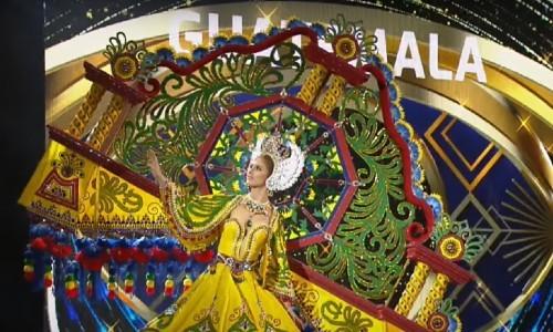 Quetzalteca lució la creación de un diseñador zacapaneco en la competencia de traje regional de Miss Grand International