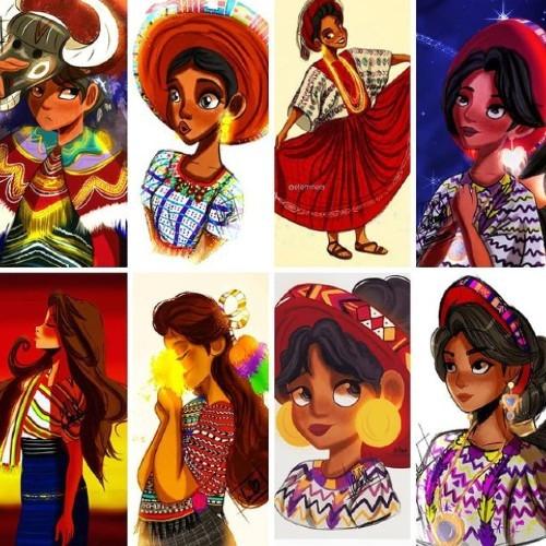 artista-quetzalteca-elena-minera-ilustro-gaby-moreno-estilo-disney-coleccion-trajes-regionales-guatemala