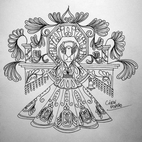 bocetos del traje xecul occidental de cesar alejandro portillo