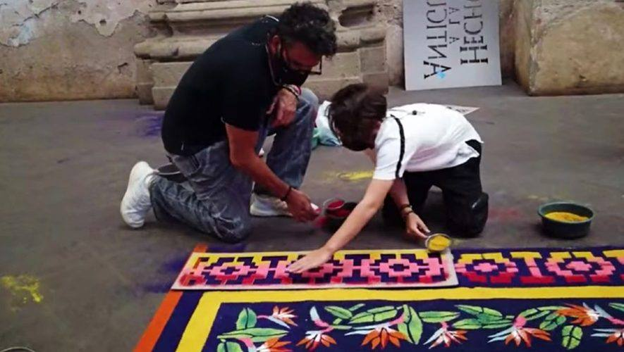 curiosas-imagenes-ricardo-arjona-hijo-nicolas-elaborando-alfombra-semana-santa