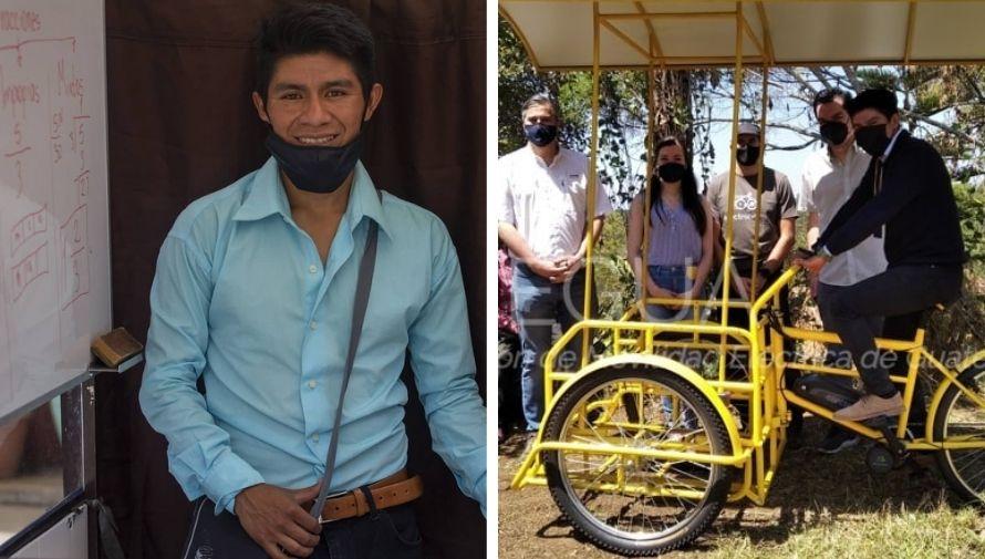 """El guatemalteco Gerardo Ixcoy """"Profe Lalito"""" recibió un nuevo triciclo eléctrico"""