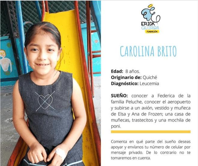 Carolina Brito niña guatemalteca con leucemia cancer