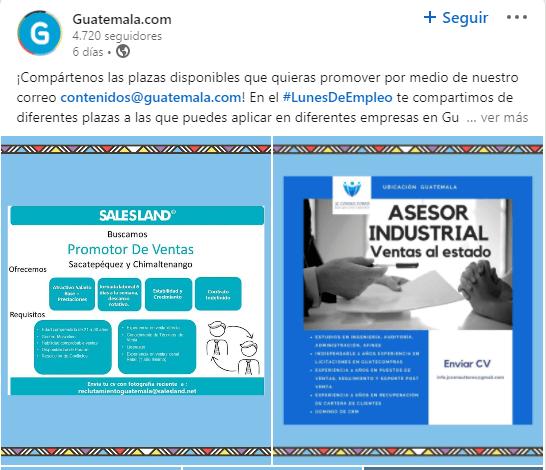 Guatemala.com creó iniciativa de plazas de trabajo disponibles para guatemaltecos infografías