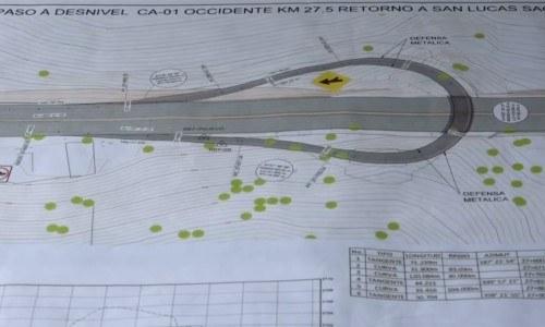 paso a desnivel CA-01 Occidente km 27.5 retorno a san lucas sacatepéquez