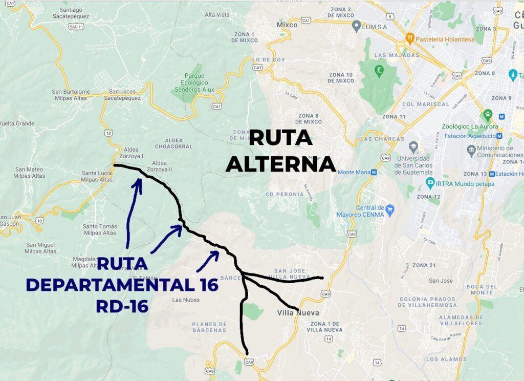 paso a desnivel san lucas guatemala rutas alternas puedes utilizar