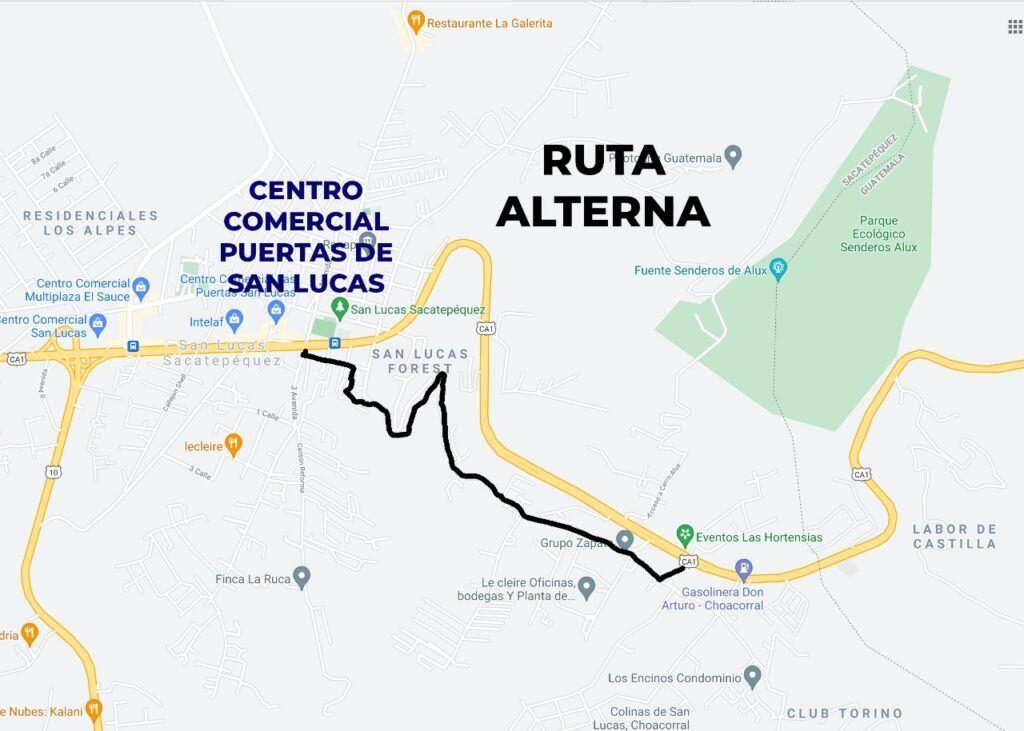 paso a desnivel san lucas guatemala vías alternas puedes utilizar