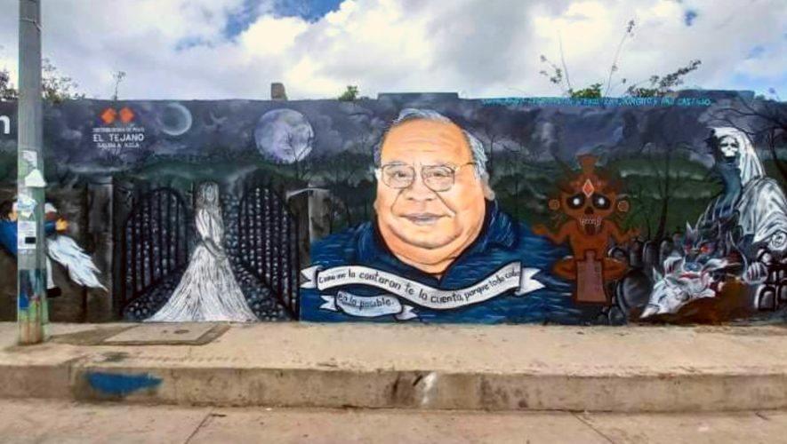 Artistas hicieron mural en honor a Héctor Gaitán en San Juan Ostuncalco, Quetzaltenango