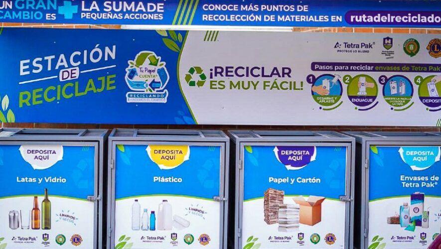 Instalaron la primera estación de reciclaje en el parque municipal de Santa Catarina Pinula