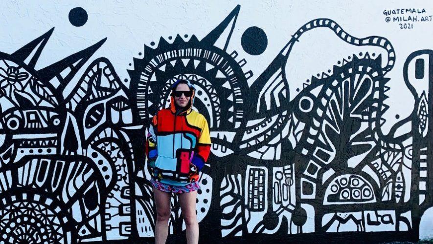 Marinés Lacayo, artista guatemalteca creó su primer mural internacional en el Museo del Graffiti