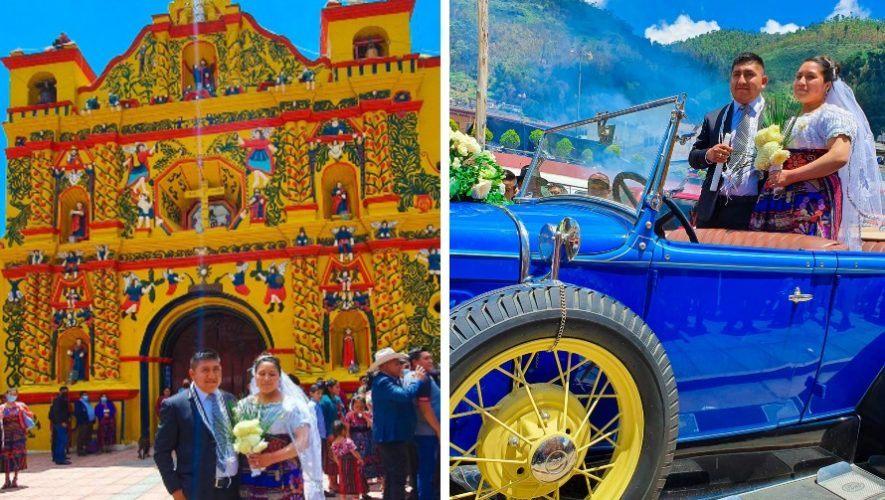 Pareja guatemalteca se casó en la pintoresca iglesia de San Andrés Xecul, Totonicapán