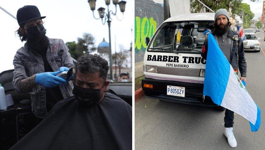 """""""Pepe Barbero"""", el guatemalteco que con barbería móvil regala cortes de cabello a personas de escasos recursos"""