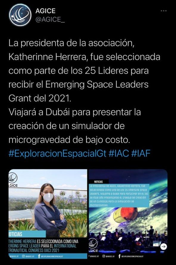 guatemalteca elegida entre los 25 líderes del Emerging Space Leaders Grant 2021