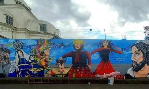 mural ferias y tradiciones de guatemala colectivo unidos por el arte, guatemala, san juan ostuncalco, quetzaltenango