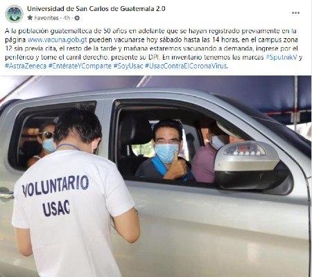Centro de vacunación de la USAC