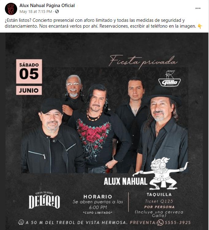 Concierto Alux Nahual ciudad de Guatemala 2021