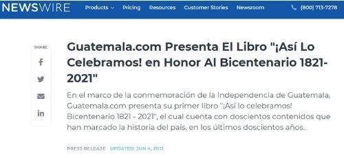 Difusión en medios libro Bicentenario Guatemala