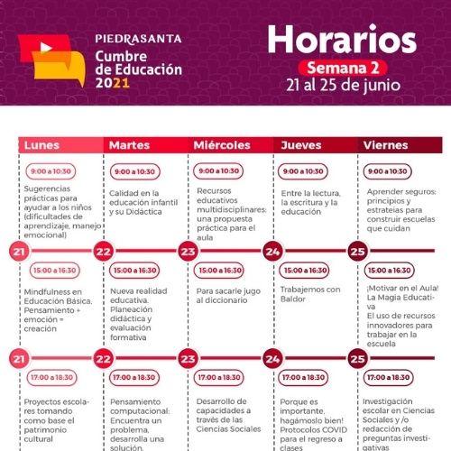 Horario Cumbre por la Educación semana 2
