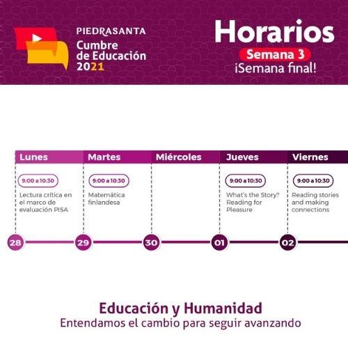 Horario Cumbre por la Educación semana 3