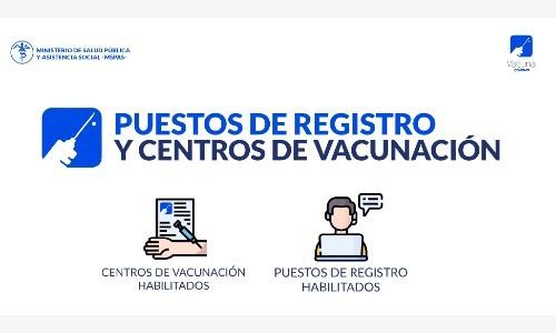 Puestos de registro habilitados para la vacuna del Covid-19 en Guatemala