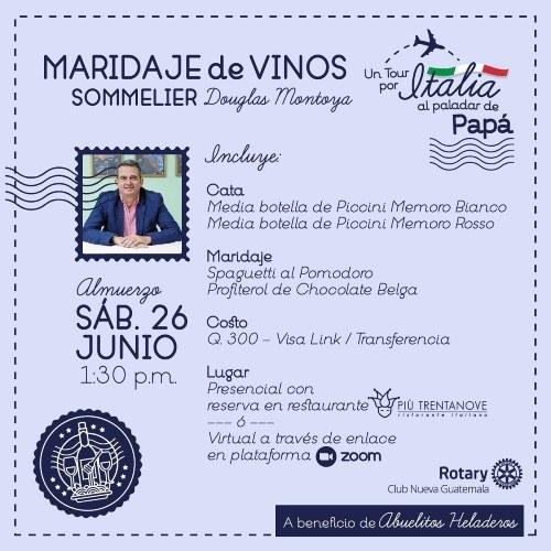 Rotary Guatemala hará maridaje de vinos a favor de Los Abuelitos Heladeros