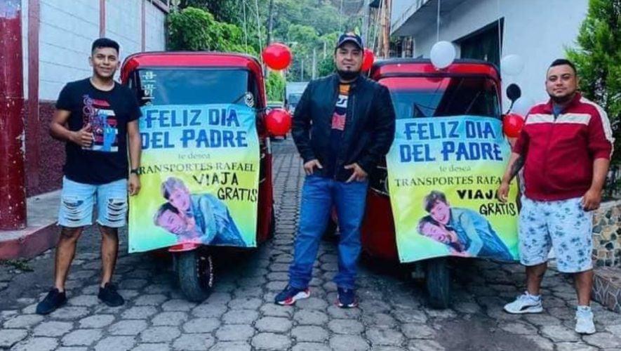 Tuc tucs regalaron viajes gratis a papás guatemaltecos en Santa Rosa, junio 2021