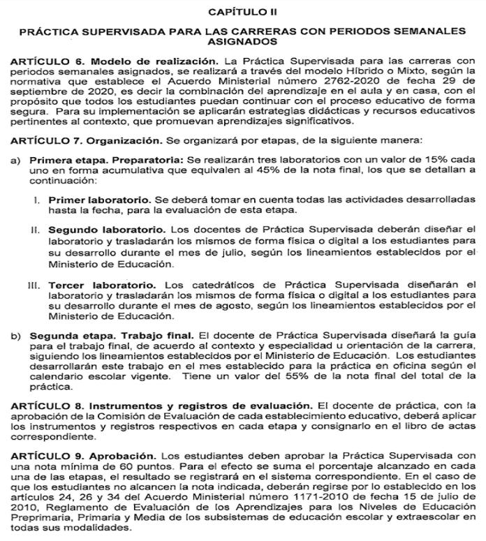 prácticas supervisadas para diversificado en Guatemala 2021